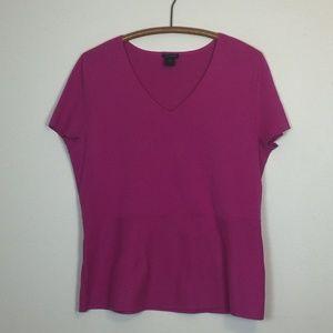 ANN TAYLOR Factory Fuschia Knit Cap Sleeve Top XL